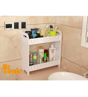 Mytools WPC Plastic Board 2 Tiers Bathroom Toilet Organizer Shelf Storage Rack Shelves Space Saver