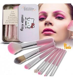 Mytools Hello kitty 7pcs Mini Makeup Brush Set for Lady Eyeshadow Lip Eye Liner Face Shader Brush with Metal box