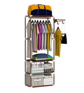 Multipurpose Storage Cloth Shoes Rack Organizer With Hanger - Brown