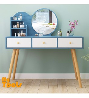 White Wooden Dressing Table with vanity mirror Three Drawer Woman Makeup Organiser Rack Condo House bedroom Dressing Room