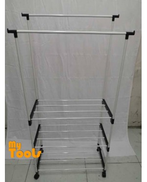 Mytools Double Adjustable Stainless Steel Garment Hanger Clothes Drying Shoes Rack W 2 Tier Shelves