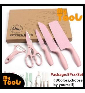 5 Pcs Wheat Straw Stainless Steel Kitchen Knife Set Non Slip Blade Cut Slice Peeler