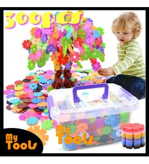 300pcs 3D Puzzle Snowflake Building Creative Kids Interlocking Plastic Disc Set Construction (Random Colour)