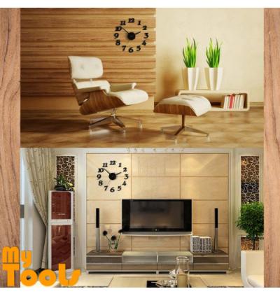 Mytools 3D DIY Number Wall Clock Adhesive Modern Decoration Stick Home Office Jam Dinding Pelekat