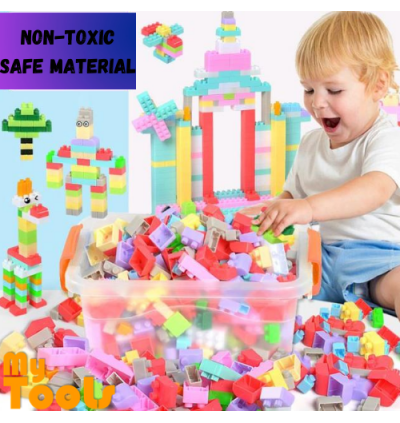 Mytools 200pcs Kids DIY Lego Building Bricks Children Large Particle Stacking Block Puzzle Education Lego With Container