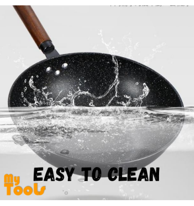 Mytools 2 Layer Black Steel Wok Cast Steel Steamer Wooden Handle Non Stick Fry Pan Cookware with Glass Cover (32cm)