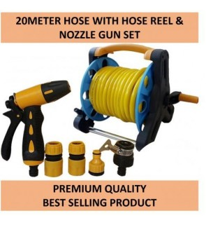 Premium Quality 20Meter Garden Hose with Hose Reel & Spray Gun Set (Best Selling)