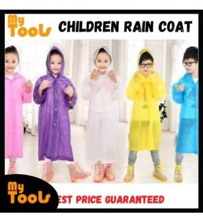 Reusable Raincoat Rain Poncho with Hood and Sleeves for Kids - Random Colour
