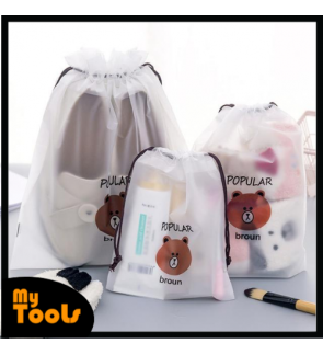 Mytools Cute Bear PVC Transparent Foladble Drawstring Bag Waterproof Unisex for Travel Cosmetic Storage Pouch