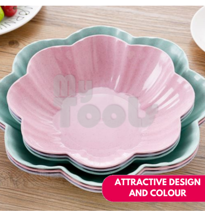 Mytools Atraw Material Flower Shaped Snack Plate for Dry Food Biscuit Fuit Vegetables Plate Bowl