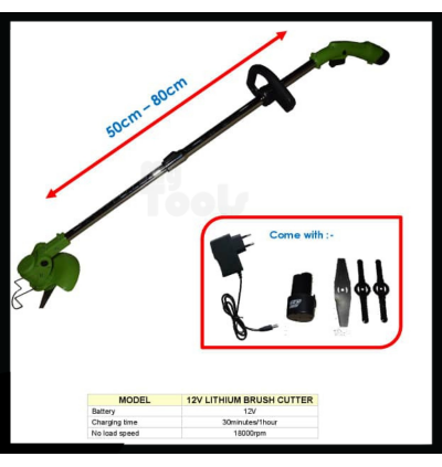 Mytools 12V Electric Grass Cutter Cordless String Trimmer Garden Lawn Mower Mover Machine Tool Mesin Rumput