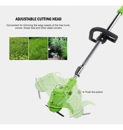 Mytools 12V Electric Grass Cutter Cordless String Trimmer Garden Household Small Lawn Mower Machine Tool (Double Battery)