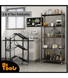 Mytools 3/4/5 Foldable Multipurpose Collapsible Home Office Cart Storage Organizer Rack With Wheels (BLACK)