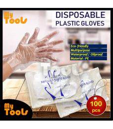 Mytools 100 PCS Clear Transparent Disposable Plastic Gloves Unisex, Non-reusable Food Bakery Cake Safe  Hygiene Sarung Tangan Glove