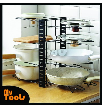 Mytools Pots and Pans Organizer Pot Rack Organizer Adjustable 8/5 Layer Pan Rack for Kitchen Counter Cabinet
