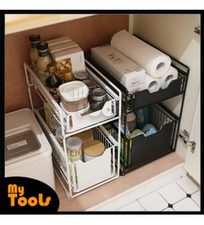 Mytools 2 Tier Sliding Cabinet Basket Pull Out Organizer Drawer Ideal Countertop Pantry Under the Sink Desktop Storage