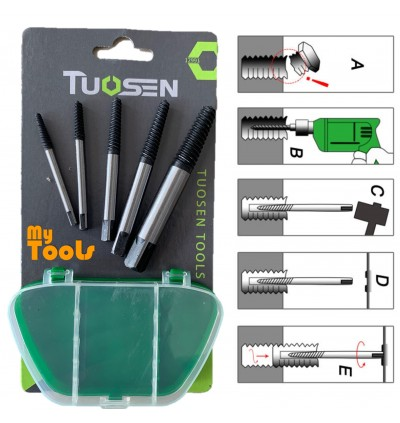 Mytools Tousen 5pcs High-carbon Steel Screw Breaker Extractor Simple Out Drill Bits with Box Removing Broken Bolts