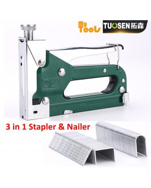 Mytools Tuosen 3 in 1 Manual Heavy Duty Hand Nail Gun Steel Furniture Stapler Nail Staples Woodworking Tacker Tools