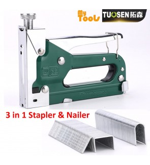Mytools Tuosen 3 in 1 Manual Heavy Duty Hand Nail Gun Steel Furniture Stapler Nailer For Framing Staples Woodworking Tacker Tools