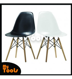 Mytool Creative Curvy Eames Chair with PP Material & Solid Wood Leg Modern / Eames Kerusi Rumah Pejabat dengan Bahan PP & Kaki Kayu Gaya Moden Kreatif