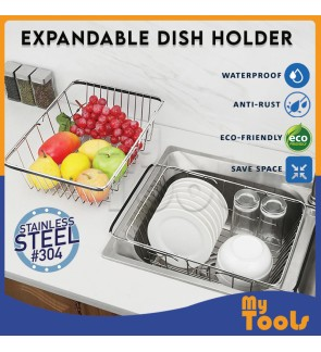 Mytools SS Expandable Dish Holder Mug Cup Drying Rack Fruits Vegetables Organizer Holder Rak Pinggan Mangkuk Alat Dapur