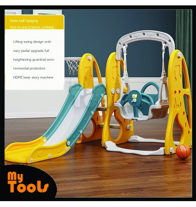 Mytools  3 in 1 Children's slide and swing combination indoor home kindergarten baby small playground children multifunctional toy / Full Height Playground