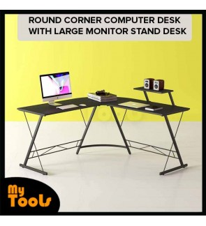 Mytools L Shaped Desk Home Office Desk With Round Corner Computer Desk With Large Monitor Stand Desk Workstation,Black