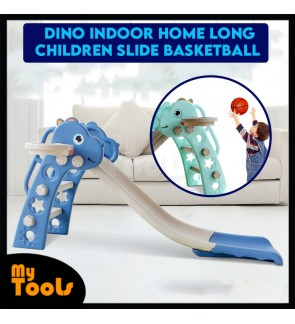 Mytools Cute Dino Indoor Home DIY 130cm Long Children Slide Basketball Hoop Kids Slide Toys for Kids Papan Gelongsor