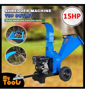 Landworks Top Outlet Heavy Duty 15HP Wood Chipper Grass Shredder Chopper Machine Tree Branch Grinder Blue