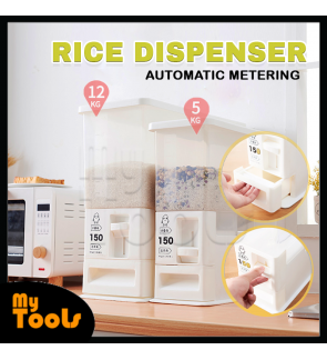 (READY STOCK) Mytools Rice Dispenser Cylinder Automatic Metering Storage Box Sealed Grain Container Kitchen Storage Capacity 12Kg Bekas Beras