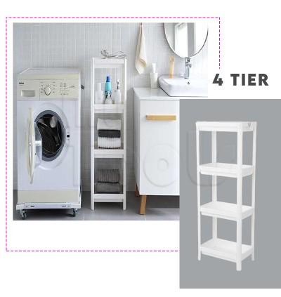 Mytools 4 Tiers Plastic Bathroom Shelf Rack Kitchen Multipurpose Storage Space Saver
