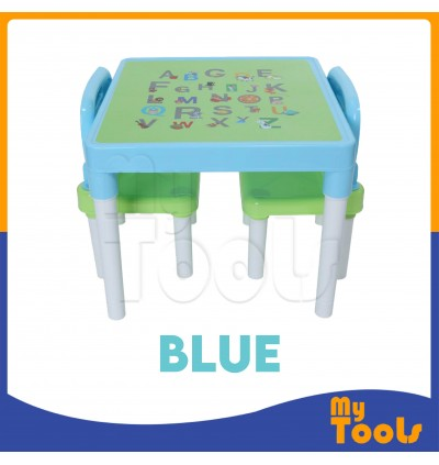 Mytools Kids Premium Plastic kid Study Playing Dining Table & 2 Chairs (Blue)