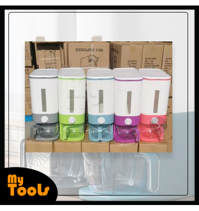 Mytools Multipurpose Rice Dispenser Storage Container Box Large Capacity 12kg Measure Label Kitchen with Measure Cup