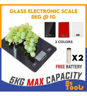 Tempered Glass Electronic Kitchen Scale (Max. Weighing 5KG) Digital LCD Display Penimbang Dapur Digital
