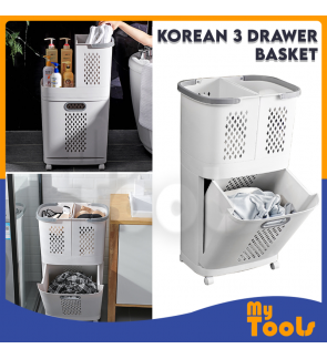 Movable Laundry Basket Bathroom Slot Storage / Bakul Pakaian Moden