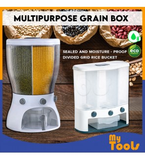 Mytools Multifunctional  (4/3 Grid) Rotating Food Storage Box With Lid Moisture Insect Proof Grain Organizer Moisture Proof Separat Rice Bucket Bekas Beras