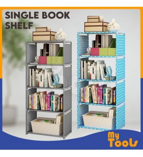Mytools Korean DIY Book Storage Shelf 5 Tier with 4 Columns Bookcase Multilayer Lightweight Plastic Book Shelf Shelving Cabinet Storage Rack