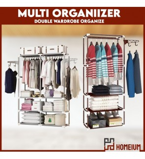 Homeium Multipurpose Storage Cloth Shoes Rack Organizer With Hanger / DIY Extra Large Laundry Hanger Wardrobe Garment