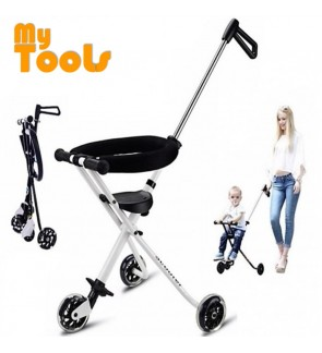 Hand Push Portable Ultra Lightweight Foldable Tricycle Stroller for Kids