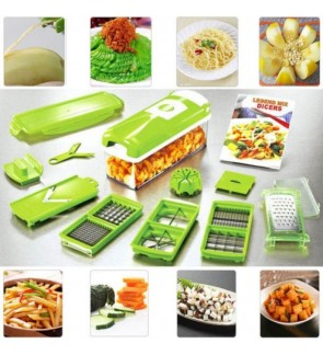 Easy to use 12pcs Practical Vegetable Fruit Stainless Steel Chopper Nicer Cutter Slicer Set