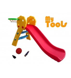 Mytools DIY Extra Long 130cm Foldable Children Slide with Basketball and Net for Indoor and Outdoor