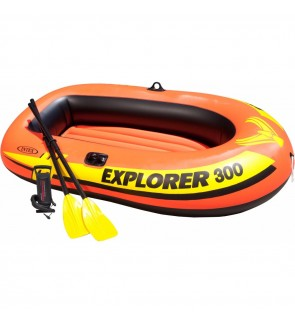 INTEX Explorer 300 3-Person Inflatable Boat Set Fishing Emergency Boat With French Oars Manual Air P