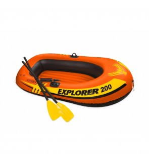 INTEX Explorer 200 2-Person Inflatable Boat Set Fishing Emergency Boat With French Oars Manual Air P