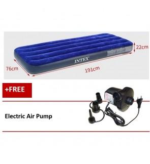Intex Inflatable Flocked Air Bed Mattress - Single (76*191*22) + Electric Pump