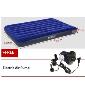 Intex Inflatable Flocked Air Bed Mattress Queen(137*191*22)+ Electric Air  Pump