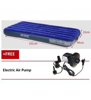 Intex Inflatable Flocked Air Bed Mattress Twin (99*191*22) + Electric Air Pump
