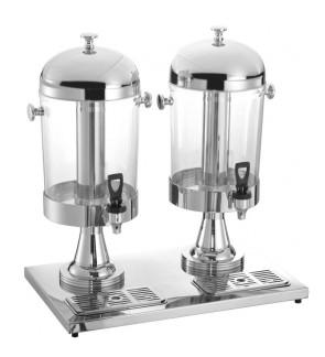 16L 8L x 2 Stainless Steel Double Bowl Juice Dispenser