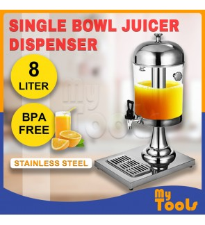 8L Stainless Steel Single Bowl Juice Dispenser With Ice Chamber