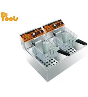 Himitzu 5.5L x 2 Stainless Steel Double Tanks c/w Baskets Electric Fryer