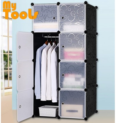 Mytools Wardrobe Cabinet Almari Rak 8 Cubes Black Stripes DIY  Clothes Organiser {Free 1 Hanger} - 2 Size Available
